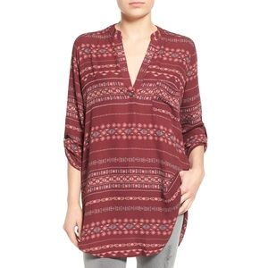 LUSH Burgundy Printed Tunic